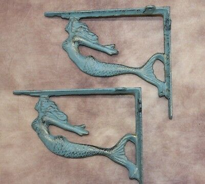 (2), Antique-style Mermaid Wall Shelf Brackets, Bronze-look Cast Iron, B-49b