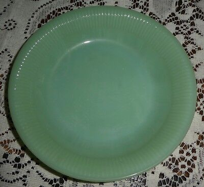 Jadeite Rimmed Soup Salad Bowl Ribbed  Jane Ray Fire King Anchor Hocking 7-1/2""