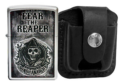 Zippo Lighter 28502 Sons Of Anarchy Fear The Reaper + LPTBK Black Leather Pouch