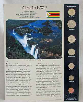 Coins From Around The World, Zimbabwe 1991-1980, 7 UNC Coins & Country Info Card