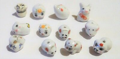 Twelve Porcelain Animal Beads,Assorted Types , Approx.10-13,   #140