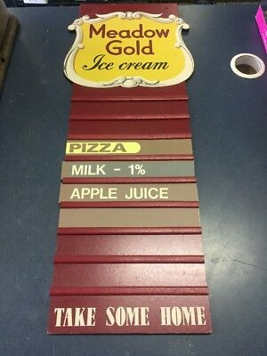 Original Meadow Gold Ice Cream Menu Board Sign Display- 1951 Extremely RARE