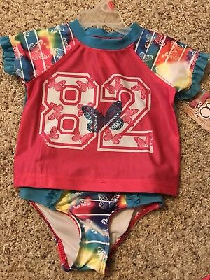 NWT OP Girls Toddler 4t Butterfly 2 piece Bathing Suit Swimsuit UPF 50+