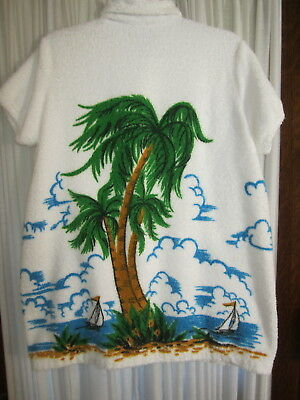 Vintage Sherry Miami, Fla  Terry Cloth Beach Bathing Suit Cover Palm Tree