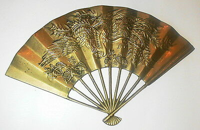"""Heavy Ornate SOLID BRASS BIRD FAN 11 1/4 X 7"""" Vintage Collectible FREE SHIPPING"""