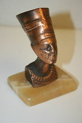 Wow Beautiful Old Mid Century Nefertiti Bronze Bust On Marble Egyptian Queen God