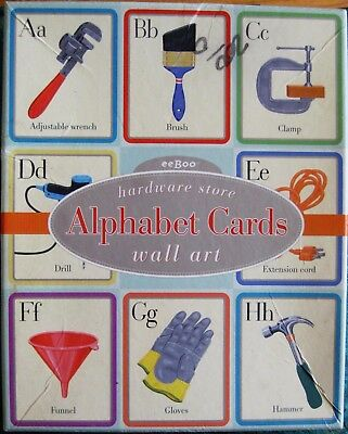 "Eeboo Hardware Store Alphabet Cards Wall Art 8""x 10"" Lizzy Rockwell Unused"