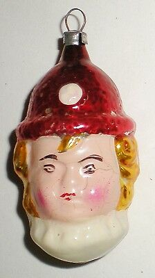 Old Antique Glass Clown Face Boy Head Christmas Ornament Germany -1930's