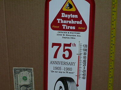 DAYTON TIRES -Closed Ohio Factory - GAS STATION THERMOMETER Shows Whitewall Tire