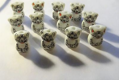 Porcelain Animal Beads, Cats, Approx. 14mm x 13mm, Lot of 12 #156