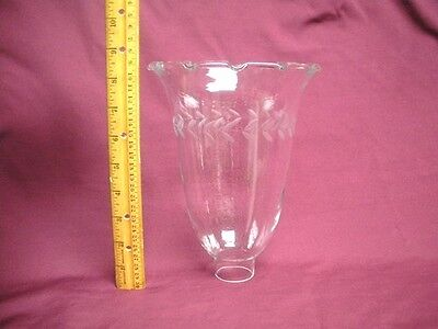 "Laurel Cut Crystal Glass Hurricane Lamp Globe 8 1/2""  Sconce Candle Stick Shade"