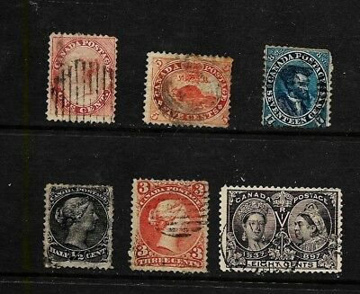 (W0726) CANADA STAMPS USED  #14 to 56  6 different stamps CV C$150.00++