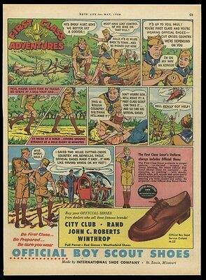 1958 BSA Boy Scouts Official shoes comic strip art vintage print ad