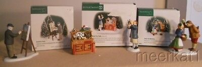 3 Boxes Dept. 56 New England Village Acc - Artist's Touch, Under The Mistletoe +