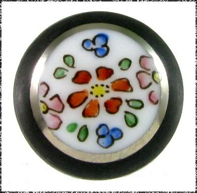 Old White Glass Button with Black Border and Colorful Flowers, Small, Box Shank