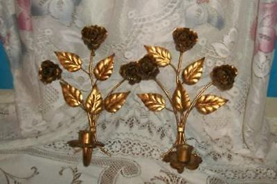 CHIC GILT ROSES ITALIAN TOLE SCONCES VINTAGE SHABBY Pr FRENCH COTTAGE PARIS APT