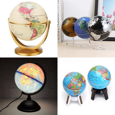 Led Rotating World Globe Map Home Office Decor Geography Educational Tool Gift