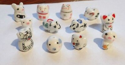 Twelve Porcelain Animal Beads, Cats, Pigs, etc..Assorted  , Approx.10-13,   #308