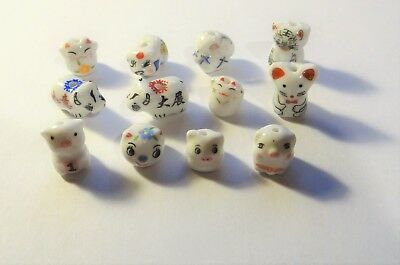 Twelve Porcelain Animal Beads, Cats, Pigs, etc..Assorted  , Approx.10-13,   #309