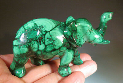"""3.1"""" Natural Green Malachite Crystal Carving Elephant from Africa Congo *0953"""