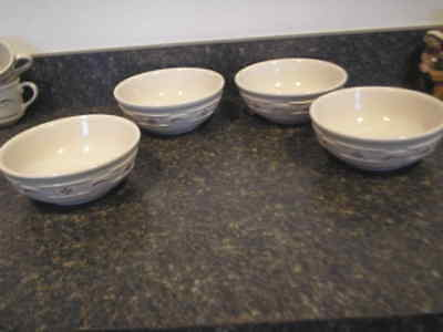 "Longaberger Woven Tradition Pottery Set of 4 Traditional Red Soup/Cereal 7""Bowls"