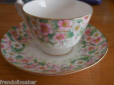 Staffordshire England Floral Cup & Saucer Fine Bone China Crown Maytime Reg Numb