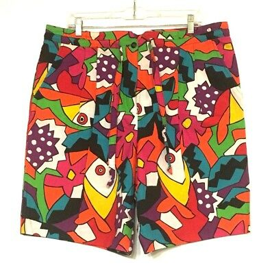 Vtg Womens Catalina Long Oversize Modern Graphic Loud Print Shorts Primary Color