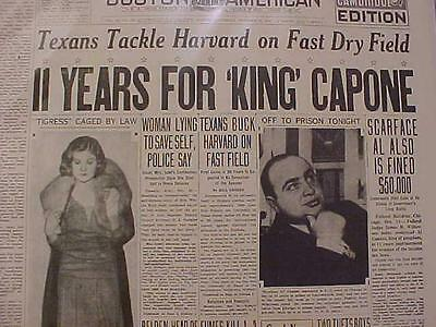 Vintage Newspaper Headline ~11 Years Jail For Gangster King Al Capone Scarface~