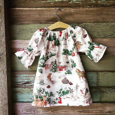 Kids Baby Girl Dress Animal Zoo Party Dresses Sundress Clothes Outfits UK Stock