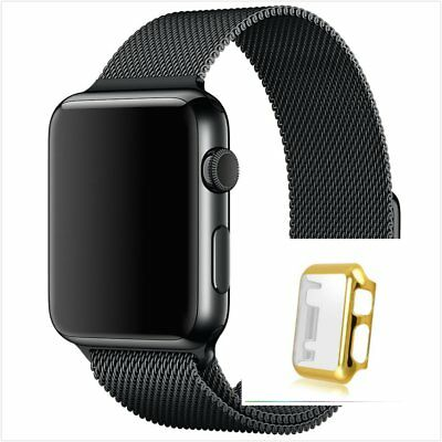Milanese Black Magnetic Stainless For Apple Watch Band  38mm Gold Case