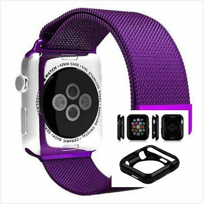 Milanese Purple Magnetic Stainless For Apple Watch Band  42mm With Case