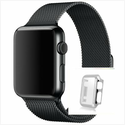 Milanese Black Magnetic Stainless For Apple Watch Band   42mm Silver Case