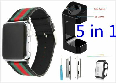5 in 1 Black Mix Colour Woven Wrist Band For Apple Watch 38mm Case Adapter