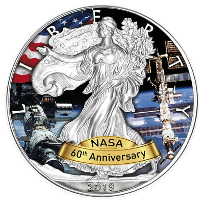 USA 1 Dollar 2018 Silver Eagle - ISS 60 Jahre NASA (1.) 1 Oz Silber ST in Farbe