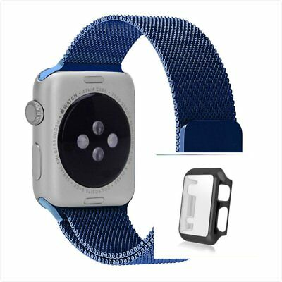 Blue Milanese Metal Band Strap For Apple Watch 38mm Full Protect Black Case