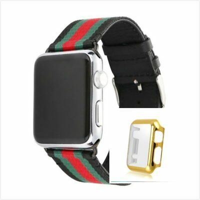 Stripes Black Mix Colour Woven Wrist Band For Apple Watch42mm Gold Case x 1