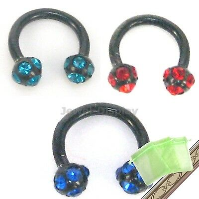 Strass Black Steel Lip Ear Nose Rings Bars Body Piercing Jewellery JB102