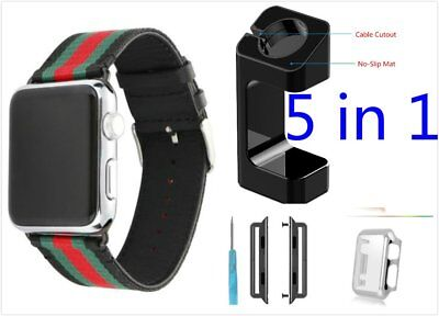 New 5 in 1 Black Mix Colour Woven Band For Apple Watch 38mm Case Adapter