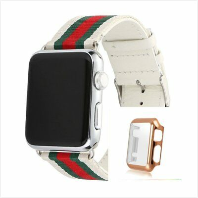 Stripes White Mix Colour Woven Wrist Band For Apple Watch38mm Rose Gold Case
