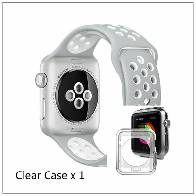 Silver White New Style Sports Silicone Strap Band For Apple Watch 42mm Case x 1