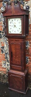 Antique Victorian Oak Mahogany Inlaid 30 Hour Grandfather Longcase Clock