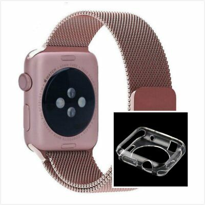 Rose Milanese Stainless Metal Band Strap For Apple Watch 42mm Clear Case