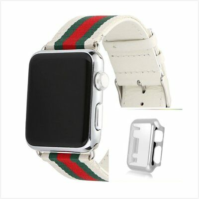 Stripes White Mix Colour Woven Wrist Band For Apple Watch38mm Silver Case x 1