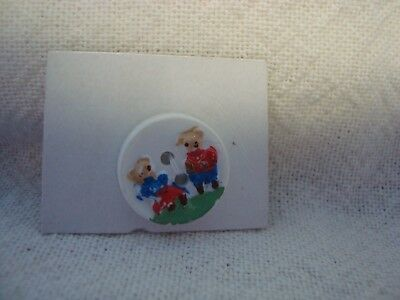 Vintage Master and Miss Teddy Bear  Realistic Plastic Button