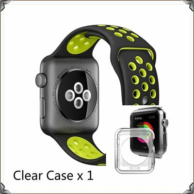 Black Yellow New Sports Silicone Strap Band For  Apple Watch 42mm Clear Case
