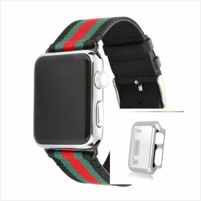 Stripes Black Mix Colour Woven Wrist Band For Apple Watch42mm Silver Case x 1