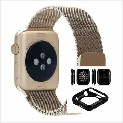 Bronze Milanese Stainless Metal Band Strap For Apple Watch 38mm Full Black