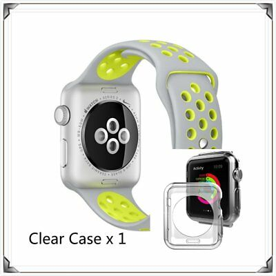 Silver Yellow New Sports Silicone Strap Band For Apple Watch 38mm Clear Case