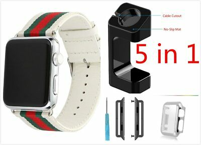 New 5 in 1 White Mix Colour Woven Band For Apple Watch 38mm Case Adapter