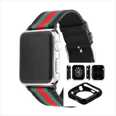 Stripes Black Mix Colour Woven Wrist Band For Apple Watch42mm Protect Case x1